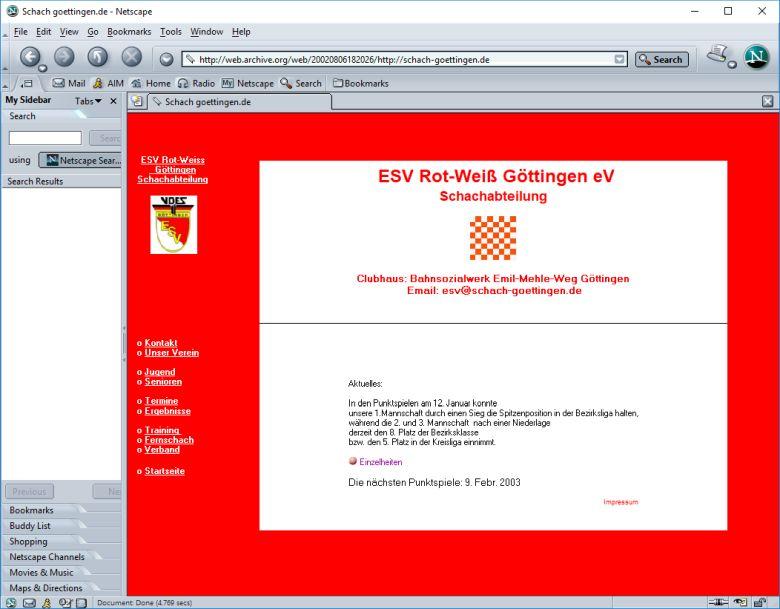 Screenshot der Startseite von 2002