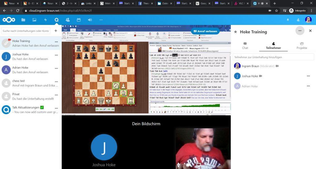 Screenshot einer Trainingssitzung per Videokonferenz über Nextcloud Talk