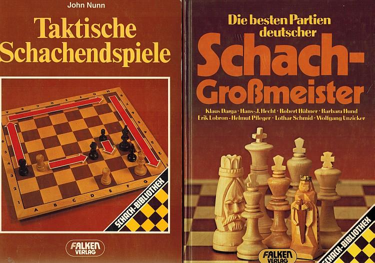 """Umschlagvorderseiten von Helmut Pflegers """"Die besten Partien deutscher Schachgroßmeister"""" (1983) und John Nunns """"Taktische Schachendspiele"""" (1987)."""