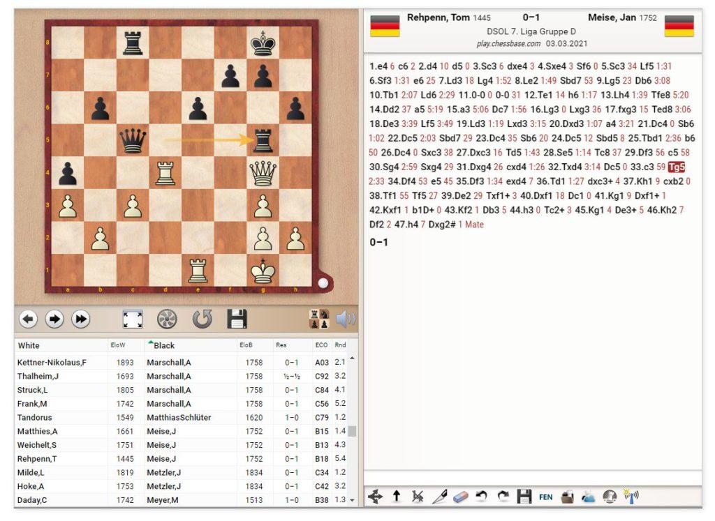 DSOL 2021, 5. Runde: Jan Meise gewinnt.